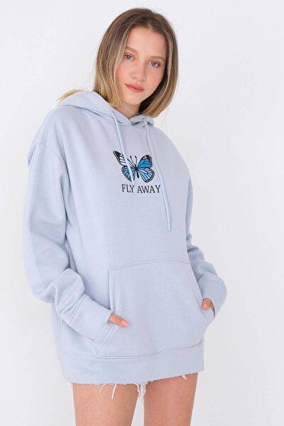 Kadın Mavi Kelebek Baskılı Sweatshirt S1161 - W8
