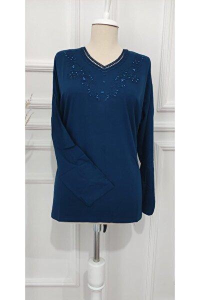 Kadın Mavi Anne Penye Bluz