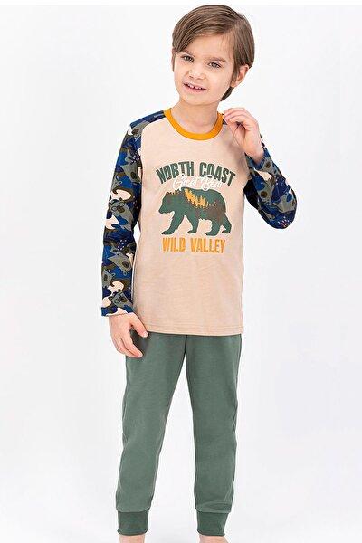 Erkek Çocuk Kamuflaj Koyu Bej Wild Bear Pijama Takımı