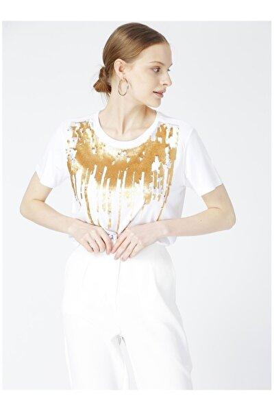 Kadın Beyaz Önü Baskılı Tişört
