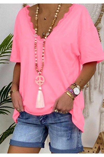 Yeni Model Kadın Ön Arka V Yaka Gupur Detay Bluz(pembe)