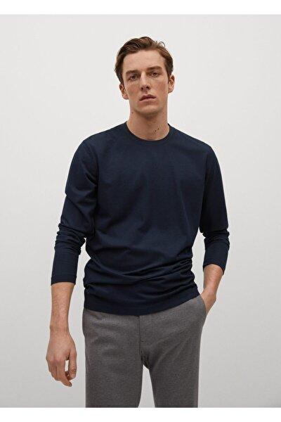 Teknik Kumaşlı Uzun Kollu Tişört