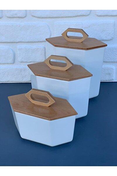 Prizma Porselen Baharalık Kavanoz Set 3'lü Set (1000ml-1500ml-2500ml)