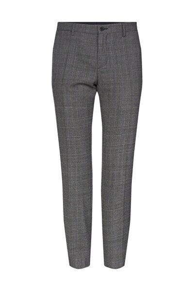 Erkek Gri Pantolon Wool Blend Check Slim Fit Pants TT0TT06274