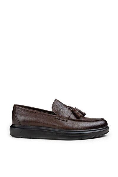 Erkek Kahverengi Hakiki Deri Püsküllü Comfort Loafer