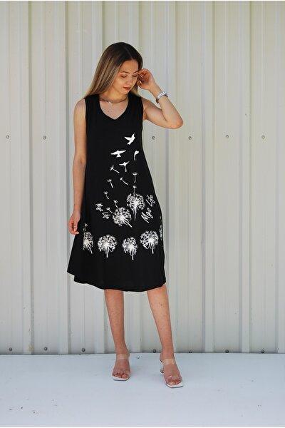 Kadın Siyah Kolsuz Kuş Baskılı Büyük Beden Elbise