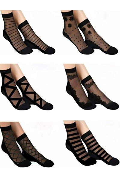 Kadın Siyah Desenli Tül Çorap 6 Lı