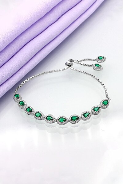 Yeşil Damla Taşlı Asansörlü Gümüş Bileklik