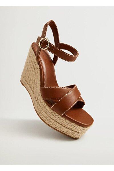 Dolgu Topuklu Çizgili Sandalet