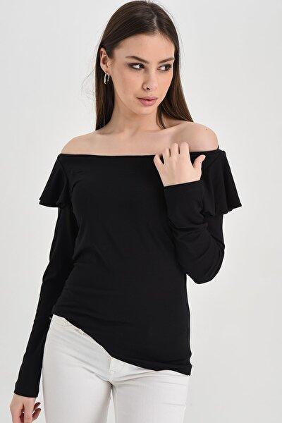 Kadın Siyah Düşük Omuzlu Volanlı Bluz Hn1297