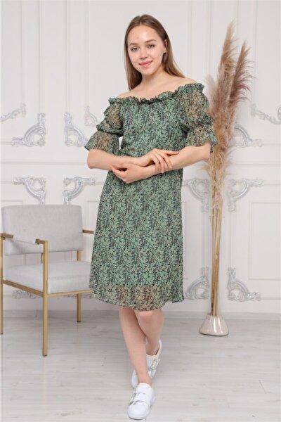 Kadın Madona Yaka Emprime Çıtır Desenli Şifon Elbise 3903/95