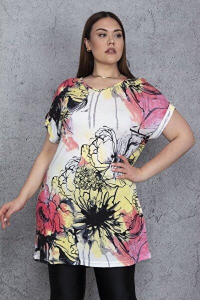 Kadın Renkli Düşük Kollu Desenli Tunik 65N24412