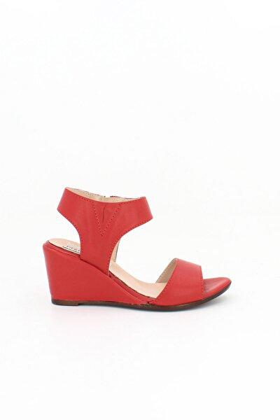 Hakiki Deri Kırmızı Kadın Dolgu Topuklu Deri Sandalet Dp38-1130