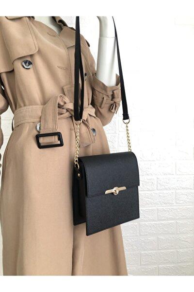 Chaın- Siyah Kadın Çanta - Uzun Askılı, Zincir Detaylı Omuz Çantası