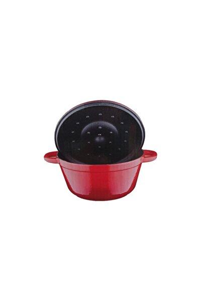 Kırmızı Yuvarlak Döküm 24 Cm Tencere Damlacık Efektli Kapak