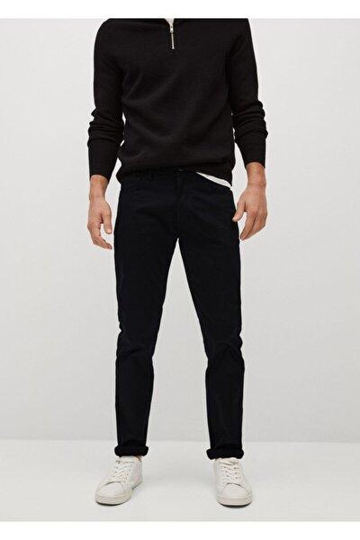 Erkek Siyah Dar Kesim Denim Görünümlü Serj Pantolon