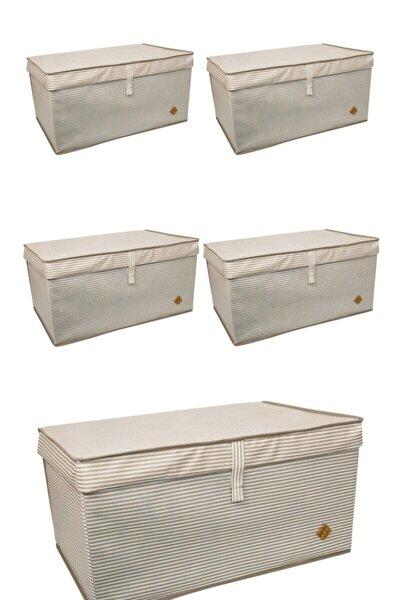 5 Adet - Kapaklı Çok Amaçlı (Çamaşır-saklama-düzenleme Vb) Hurç, Kutu Mega Plus 70x40x30 - Kahve