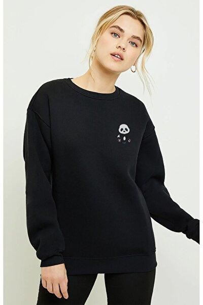 Kadin Baskılı Siyah Örme Sweatshirt Uzun Kol