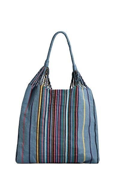 Kadın Renkli Çizgili Bez Çanta