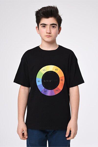 Erkek Çocuk Siyah Basic Yaka Baskılı T-shirt