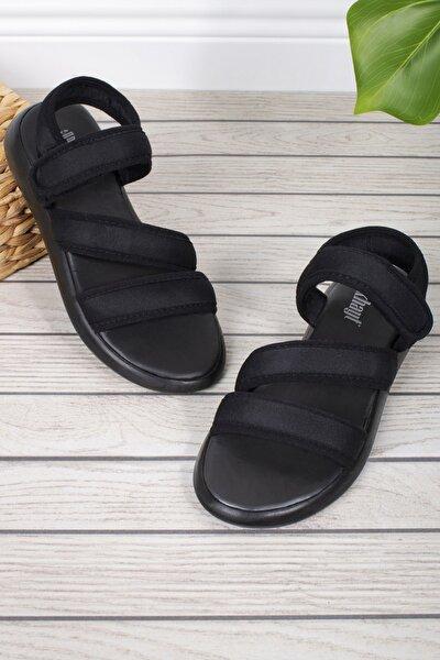 Kadın Siyah Ortopedik Relax Günlük Sandalet