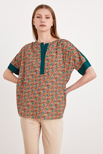 Kadın Kolları Ve Yakası Garnili Desenli Bluz 115L7736000