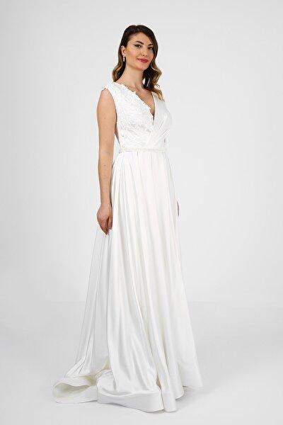 Beyaz Saten A-line Aplike Işlemeli Gelinlik Nikah Elbisesi