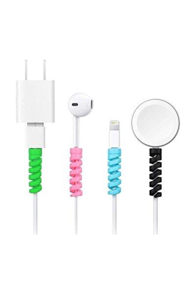 Spiral Kablo Koruyucu Silikon Set Şarj Kablosu Kulaklık Kablosu Koruyucu