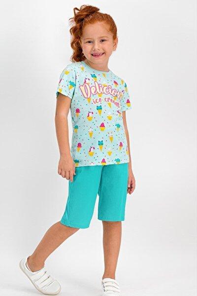 Kız Çocuk Delicius Ice Cream Nil Yeşil Kapri Takım