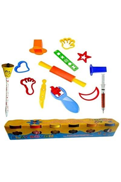Oyun Hamuru Kalıpları Playdough 6 Renk 300 gr Oyun Hamuru Seti Şırınga Mavi Ve Çanlı Tükenmez Kalem