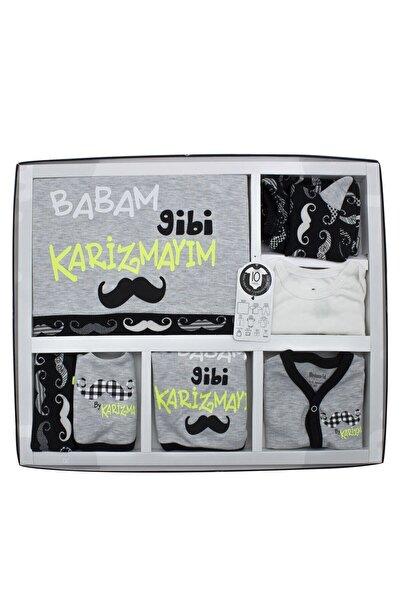 Unisex Gri Babam Gibi Karizmayım 10'lu Yenidoğan Bebek Hastane Çıkışı Seti K3289