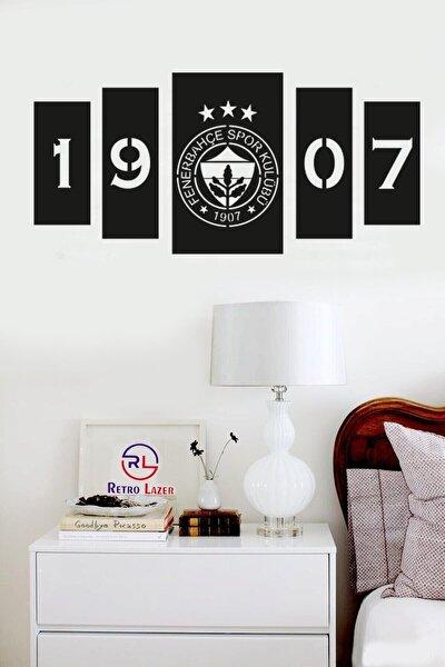 Siyah Fenerbahçe 5'li Ahşap Lazer Mdf Duvar Dekoru Tablosu