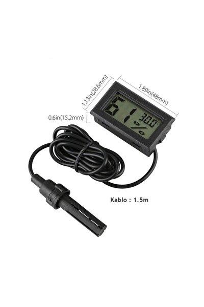 Mini Isı Ve Nem Ölçer - Termometre Higrometre Prob Kuluçka Siyah
