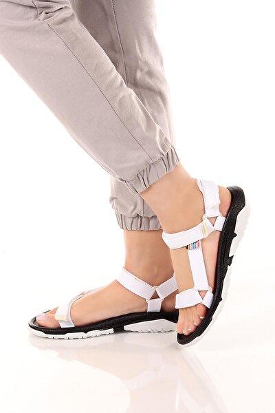 Kadın Siyah Beyaz Günlük Outdoor Trekking Cırtlı Kaymaz Taban Sandalet Soby11050033