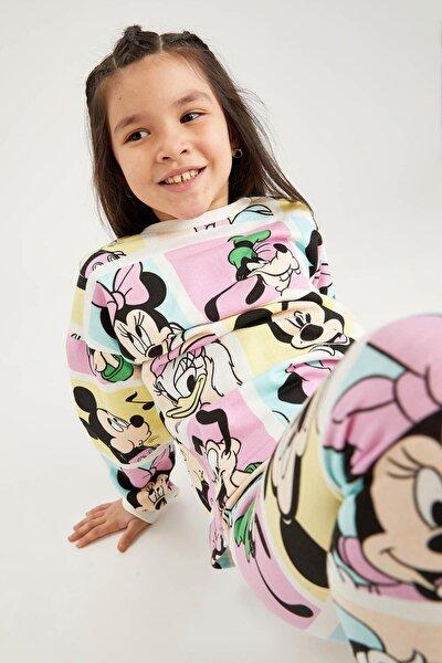 Kız Çocuk Ekru Mickey Mouse Lisanslı Crop Sweatshirt