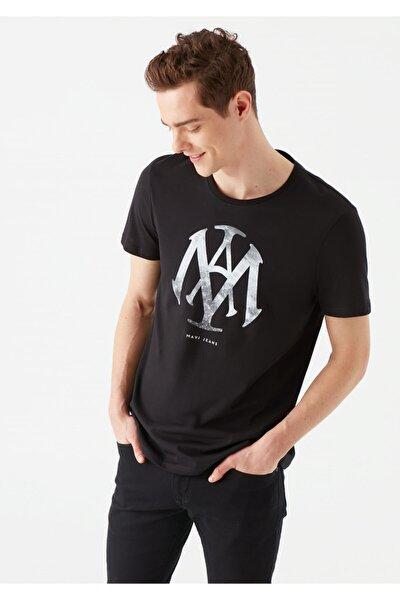 Mühür Logo Baskılı Siyah Tişört