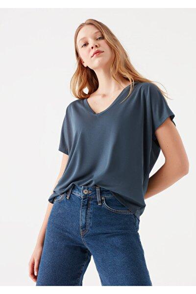 Lux Touch V Yaka Lacivert Modal Tişört