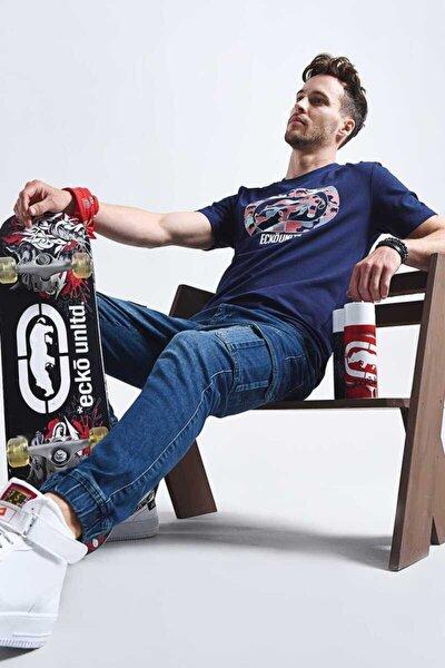 Pınk Camo Lacivert Erkek Baskılı Bisiklet Yaka T-shirt