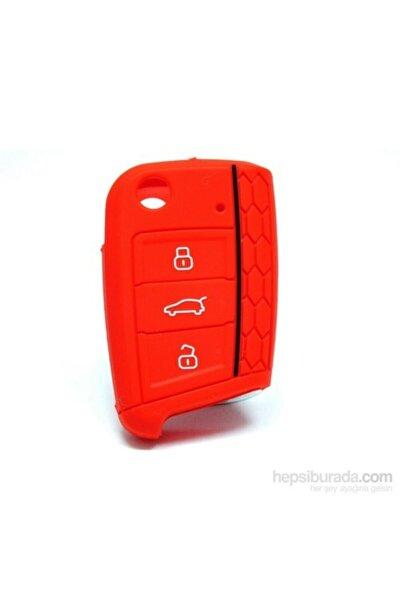 Vw Volkswagen Skoda Seat Polo Tiguan Golf 7 Silikon Anahtar Kırmızı