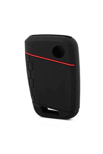 Passat B8.5 Silikon Anahtar Kılıfı Kırmızı Çizgili Kılıf Anahtar