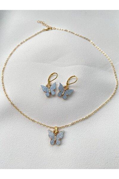 Kadın Mavi Kelebek Kolye Küpe Seti Kombin