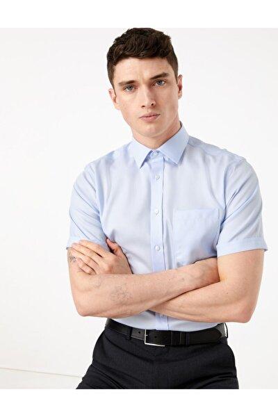 Erkek Mavi Saf Pamuklu Regular Fit Gömlek T11008725