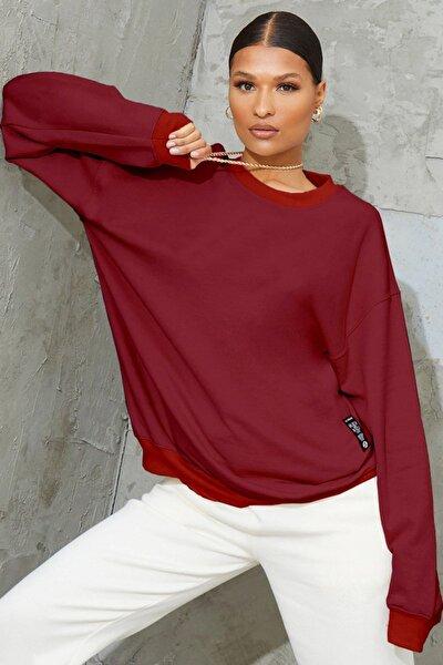 Kadın Kırmızı Basic 0 Sıfır Yaka Baskısız Düz Oversize Salaş Bol Kesim Polar Sweatshirt
