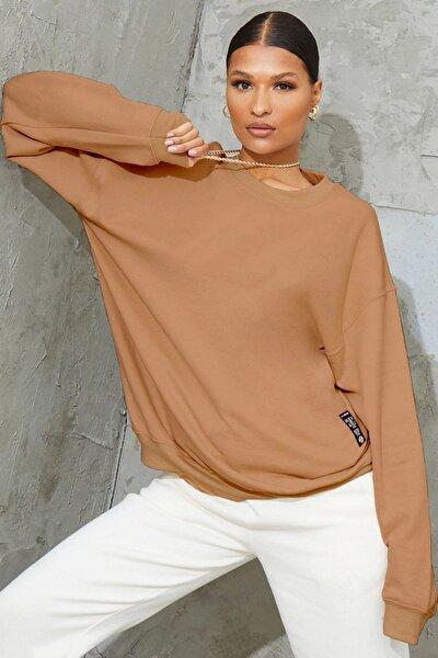 Kadın Açık Kahve Bol Kesim Polar Sweatshirt