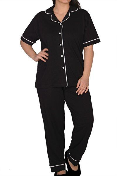 Siyah Kadın Pijama Takımı Düğmeli Kısa Kollu Büyük Beden Cepli
