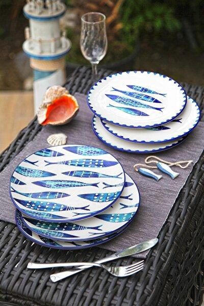 6'lı Özel Tasarım Handmade 21cm Pasta Tabak Seti - Blue Fısh