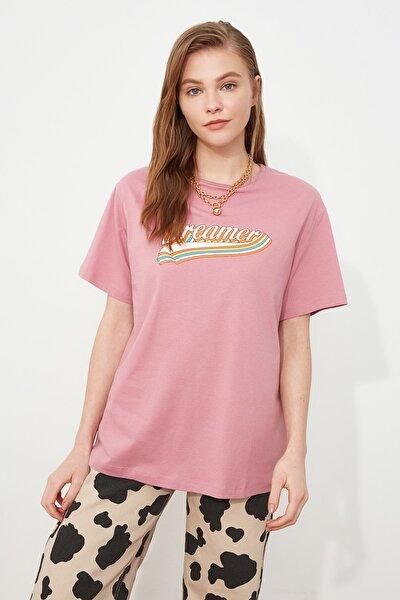 Gül Kurusu Eskitme Baskılı Boyfriend Örme T-shirt TWOSS19GS0147
