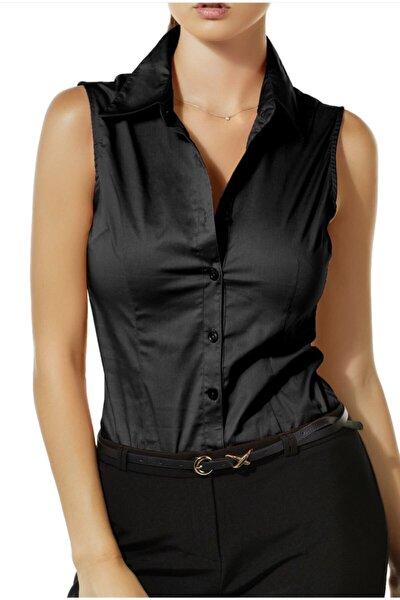 Kadın Siyah Sıfır Kol Gömlek