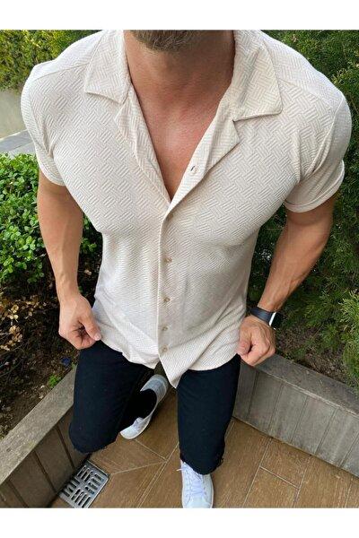 Erkek Krem Desenli Pamuklu Yazlık Kısa Kollu Gömlek