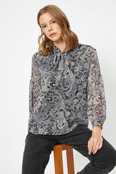 Kadın Siyah Desenli Bluz